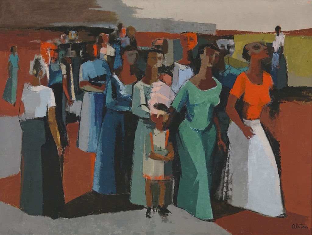 """[Charles Henry Alston. """"Walking."""" 1958. Oil and gesso on canvas. Collection of the Smithsonian National Museum of African American History and Culture, Gift of Sydney Smith Gordon. © Charles Alston Estate.]"""